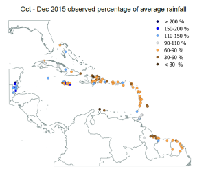 Oct - Dec 2015 Observed Percentage of Average Rainfall